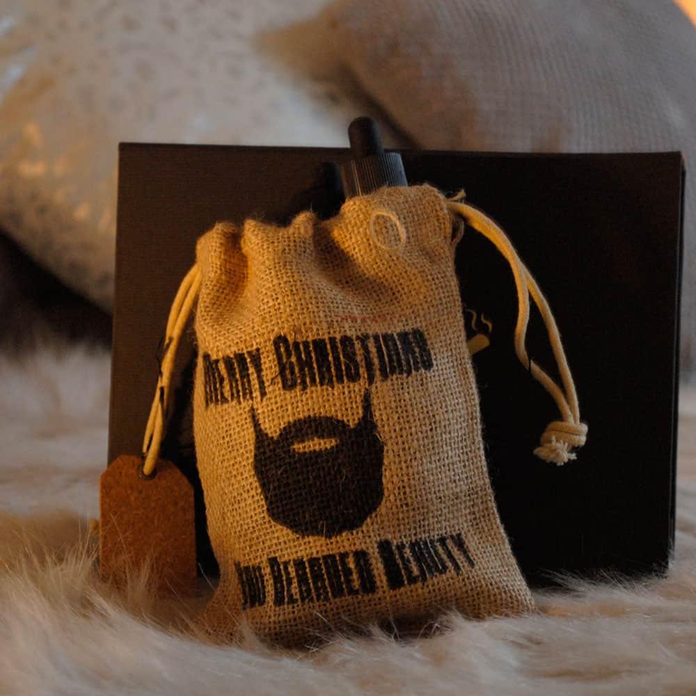 2 beards oils in jute bag